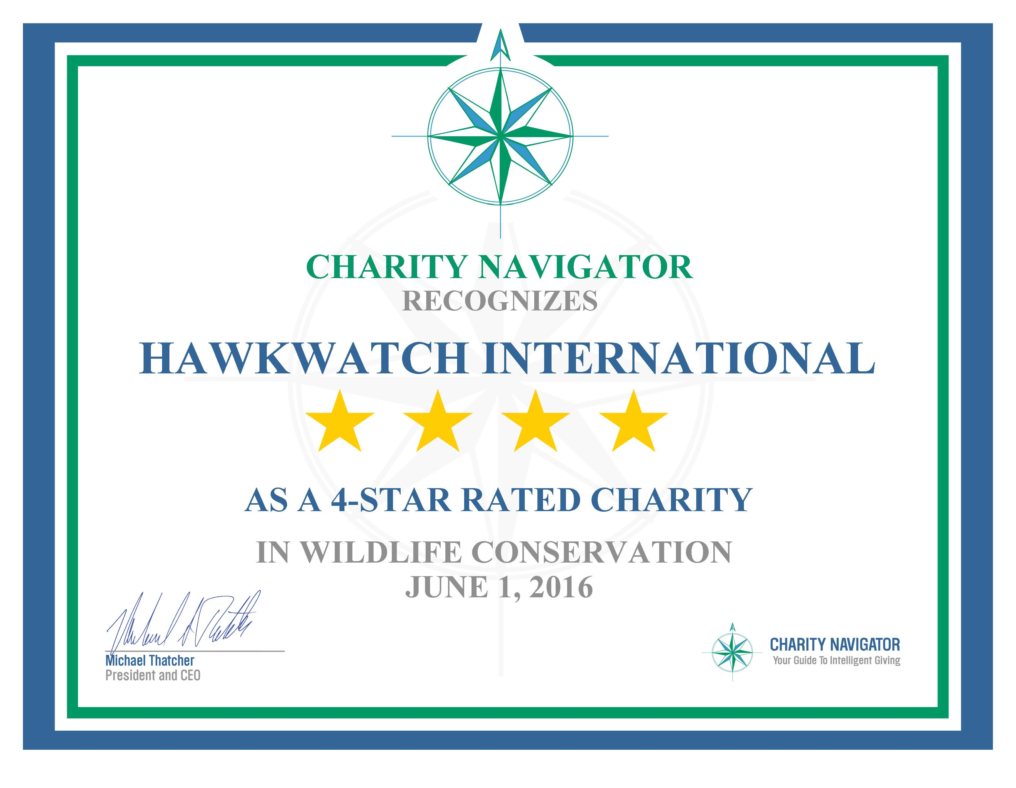 Charity Navigator 4 star Certificate Page 1